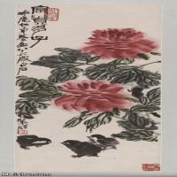 【超顶级】JXD5260193近现代国画富贵多子图-齐白石国画水墨立轴-30x85-35x99-花卉-牡丹-小鸡-多子多福-244M-5056X