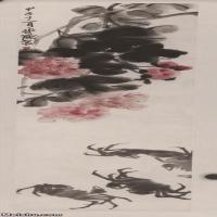 【超顶级】JXD5260205近现代国画芙蓉蟹-齐白石国画水墨立轴-30x117-35x136-花卉-螃蟹-芙蓉花-富贵-294M-4736X