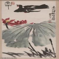 【超顶级】JXD5260194近现代国画和平-齐白石国画水墨立轴-30x73.5-55x135-花卉-荷花-鸽子-445M-7040X