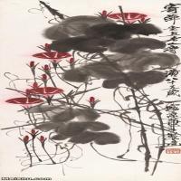 【超顶级】JXD5260198近现代国画牵牛花轴-齐白石国画水墨立轴30x88-35x105.5-花卉-196M-4167X