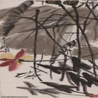 【超顶级】JXD5260195近现代国画荷塘双鱼图-齐白石国画水墨立轴-30x92.5-40x123.5-花卉-荷花-247M-4578X