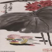 【超顶级】JXD5260202近现代国画荷塘鸳鸯图-齐白石国画水墨立轴-30x90.5-35x105.5-花卉-红荷-180M-3964X
