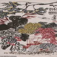 【超顶级】JXD5260207近现代国画红花绿叶蝴蝶图-齐白石国画水墨立轴-30x91-40x121-花卉-花草-262M-4766X