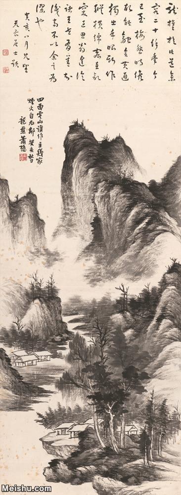 【超顶级】JXD5240145近现代国画墨笔山水-肖愻国画水墨立轴-30x81.5-45x122-高山-树木-房屋-河流
