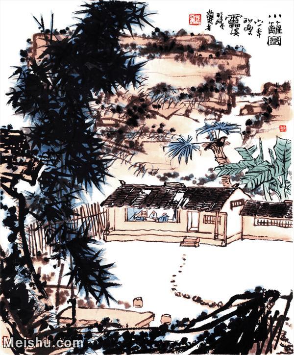 【超顶级】JXD5240171近现代国画小篱园-潘天寿国画水墨立轴-30x36-75x90.5-风景-篱笆-人家山水风景