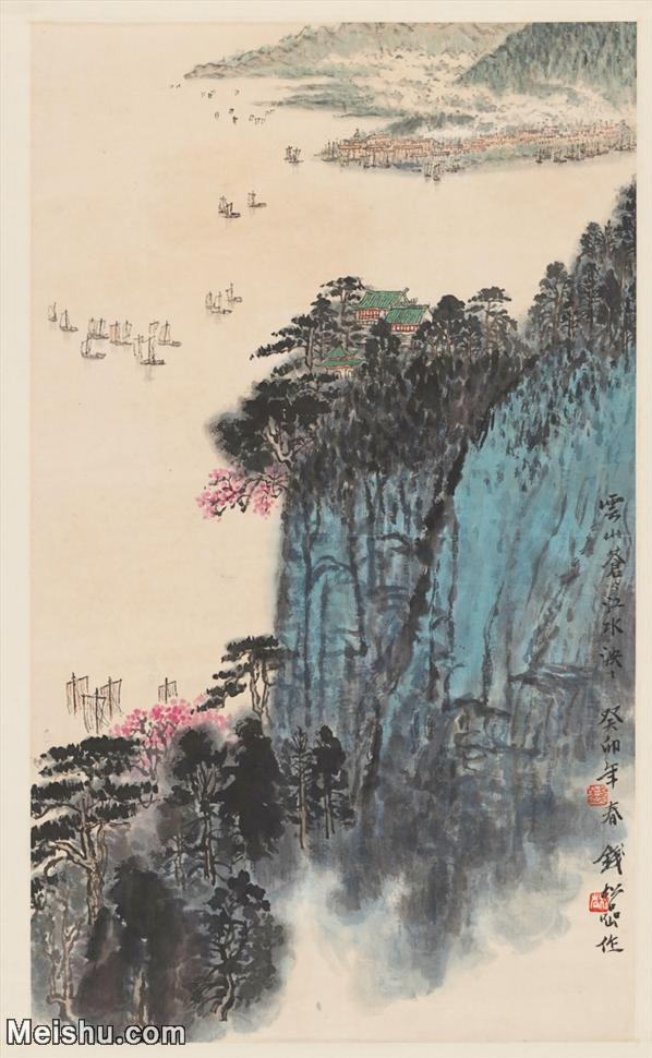 【超顶级】JXD5240603近现代国画近现代 钱松岩-云山苍江图轴山水风景图片-177M-6.jpg