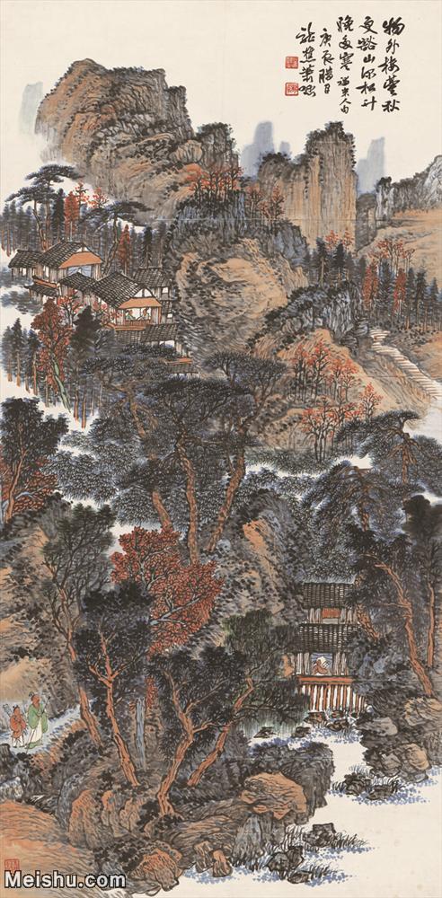 【超顶级】JXD5240228近现代国画山水图-肖愻 国画水墨立轴-30x61-70x142.5-山水-树木-人家山水风