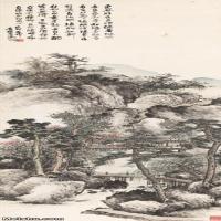 【超顶级】JXD5240233近现代国画山水图轴-吴徵水墨立轴小桥-人家-树木-风景山水风景图片-286M-4
