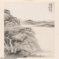 【超顶级】JXD5240442近现代国画水墨山水图轴-贺天健国画水墨立轴-30x81.5-50x136-山水-风景-河流山水风景图片-364M-7
