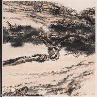 【超頂級】JXD5240474近現代國畫潘天壽-鐵石帆運121x249山水風景圖片-1293M-15