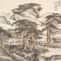 【印刷级】JXD6166885近现代陆抑非名家国画山水风景立轴图片-54M-