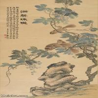 【印刷级】JXD12121634-花鸟植物立式-陆恢 葡萄松鼠图近现代国画喷墨印刷高档电子图库图片-57M-