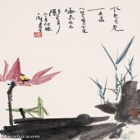 【印刷级】JXD12121603-花鸟植物立式-潘天寿 红莲近现代国画喷墨印刷高档电子图库图片-67M-