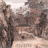 【超顶级】JXD5240140近现代国画喝水岩-陆俨少水墨立轴-建筑-寺庙-山峰山水风景图片-410M-