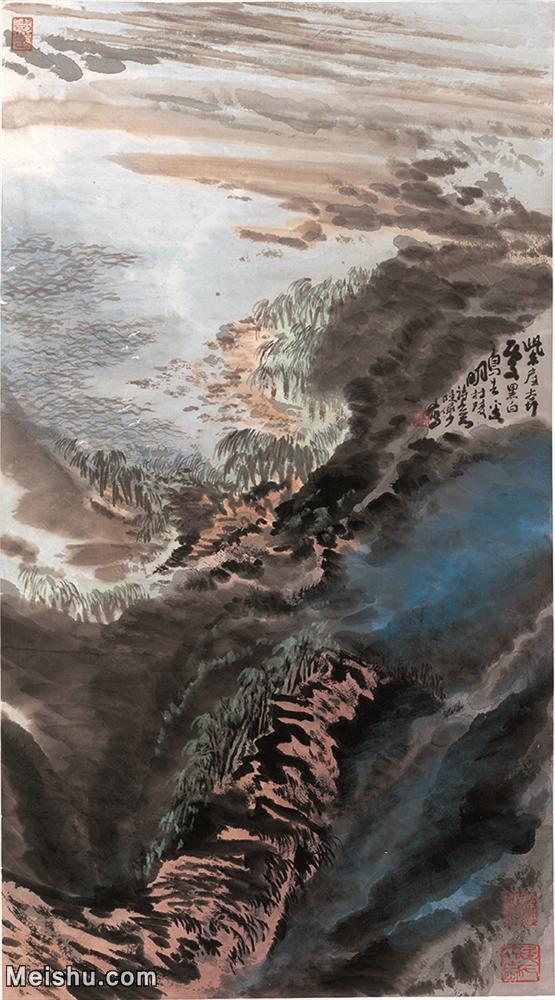 【打印级】JXD12120760-风景立式-陆俨少紫崖白鸟杜甫诗意图高清近现代国画晰高质量下载印刷喷绘电子文件-91M-