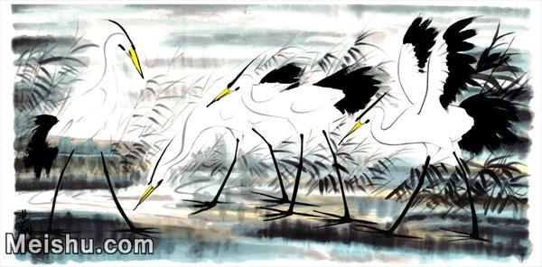 【超顶级】JXD5263001近现代国画超大背景名家鹭鸶-林凤眠国画水墨长卷-60.5x30-171.5x85-动物-白