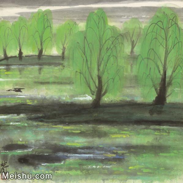 【超顶级】JXD5241037近现代国画西湖-林凤眠国画水墨小品-30x30-75x75-山水-风景-湖泊山水风景图片-