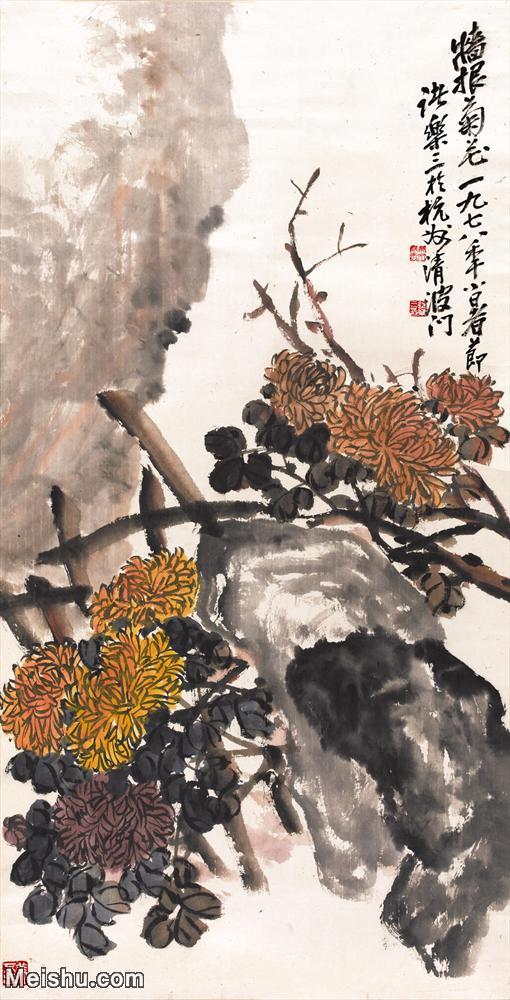 【打印级】JXD5260348近现代国画墙根菊花-吴昌硕国画水墨立轴-30x59-花卉花鸟图片-63M-.jpg
