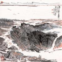 【超顶级】JXD5240490近现代国画画陈简斋诗间意图-陆俨少水墨立轴-河流山水风景图片-301M-6