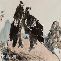 【打印级】JXD5252007近现代名家国画水墨远瞩-李苦禅国画水墨长卷-60.5x30-动物-雄鹰动物图片-57M-