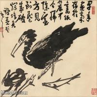 【打印级】JXD6160505近现代《鱼鹰进食图》-李苦禅国画水墨小品-32x30国画动物小品图片-25M-