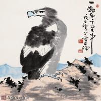 【打印级】JXD6163230近现代李苦禅 鹰名家国画动物立轴图片-83M-