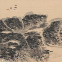 【超顶级】JXD5240534近现代国画西海门图轴-黄宾虹国画水墨立轴-山川-河流-人家山水风景图片-161M-5