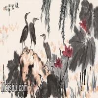 【打印级】JXD6162138近现代荷图1973年作-李苦禅国画水墨长卷-78x30-荷塘荷花名家国画镜片花鸟植物图片-28M-