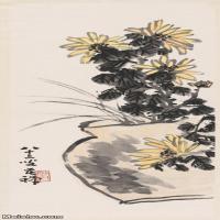 【超顶级】JXD5260667近现代国画李苦禅菊花图轴1花鸟图片-134M-4