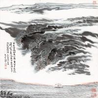 【超顶级】JXD5240527近现代国画蓼岸风帆图-陆俨少国画水墨立轴-30x48.5-60x96.5-山水-风景-江河-帆船山水风景图片-309M-7