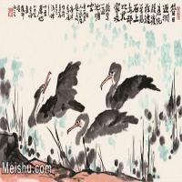 【欣赏级】JXD5252006近现代名家国画水墨《游渔鹰》1981年作-李苦禅国画水墨长卷-55x30-动物-池塘动物图片-29M-