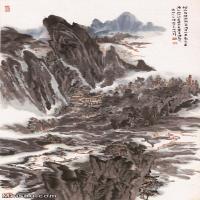 【超顶级】JXD5240478近现代国画烟内丹砂-陆俨少水墨立轴-山峰-山川-江河山水风景图片-499M-8