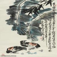 【打印级】JXD5260666近现代国画李苦禅芭蕉双鸟100X46花鸟图片-52M-