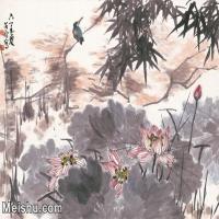 【超顶级】JXD5263168近现代国画超大背景名家荷花-李苦禅国画水墨镜片-39.5x30-145x110-198x150-99x131-花卉-花鸟-荷塘植物花鸟图片-1025M-20