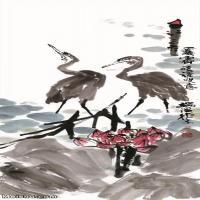 【超顶级】JXD5260974近现代国画双鹭图-李苦禅国画水墨立轴-30x75-35x97.5-荷塘-动物-鹭动物立轴图片-153M-4