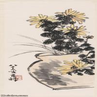 【超顶级】JXD5260065近现代国画菊花图轴-李苦禅国画水墨立轴-30x79.5-40x106-花卉-花草-182M-5006X