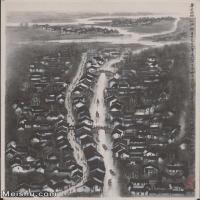 【超顶级】JXD5240703近现代国画鲁迅故乡绍兴城-李可染国画水墨立轴-30x42-50x70-城镇-小城-风景-建筑山水风景图片-142M-