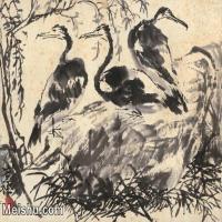 【打印级】JXD6160500近现代《三鹰图》50年代作-李苦禅国画水墨镜片-40x30国画动物小品图片-19M-