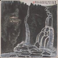 【超顶级】JXD5240519近现代国画苍岩白练-李可染国画水墨立轴-30x44-50x73.5-山水-风景-瀑布山水风景图片-143M-