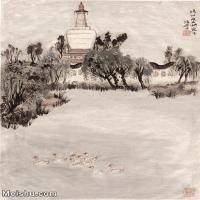 【印刷级】JXD5240491近现代国画瘦西湖白塔-陆俨少国画水墨立轴-30x39.5-风景-西湖-建筑山水风景图片-118M-