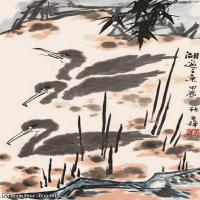 【欣赏级】JXD6163172近现代《湖边之景》1964年作-李苦禅国画水墨立轴-30x59.5-动物名家国画动物立轴图片-28M-