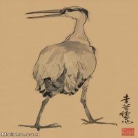【欣赏级】JXD6163178近现代《苍标本》-李苦禅国画水墨立轴-30x49.5-35x57.5-动物-鱼鹰名家国画动物立轴图片-20M-