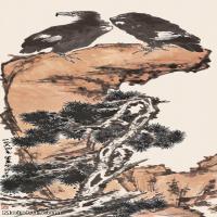 【欣赏级】JXD6163174近现代《松崖双1964年作-李苦禅国画水墨立轴-30x64.5-动物-鹰-松树名家国画动物立轴图片-34M-