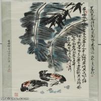 【印刷级】JXD5260977近现代国画芭蕉-李苦禅国画水墨立轴-30x53-动物-鹌鹑动物立轴图片-73M-