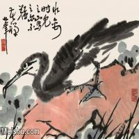 【欣赏级】JXD6160504近现代《鱼鹰》1974年作-李苦禅国画水墨镜片-40x30国画动物小品图片-16M-