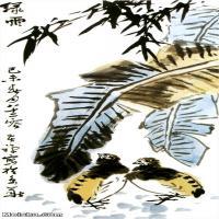【欣赏级】JXD6165107近现代李苦禅-绿雨名家国画花鸟花卉植物立轴图片-20M-
