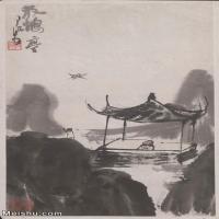 【印刷级】JXD5240287近现代国画放鹤亭-李可染国画水墨立轴-30x50-40x67-风景-建筑山水风景图片-116M-