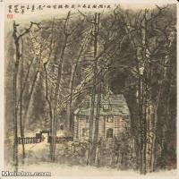 【印刷级】JXD5240440近现代国画歌德写作小屋-李可染国画水墨立轴-30x40.5-35x47-风景-树林-建筑山水风景图片-92M-