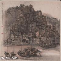 【印刷级】JXD5241024近现代国画夕照中的重庆山城-李可染国画水墨小品-35x30-60x51.5-风景-城镇-建筑山水风景图片-140M-