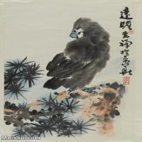 【印刷级】JXD5261289近现代国画李苦禅鹰(2)动物立轴图片-80M-